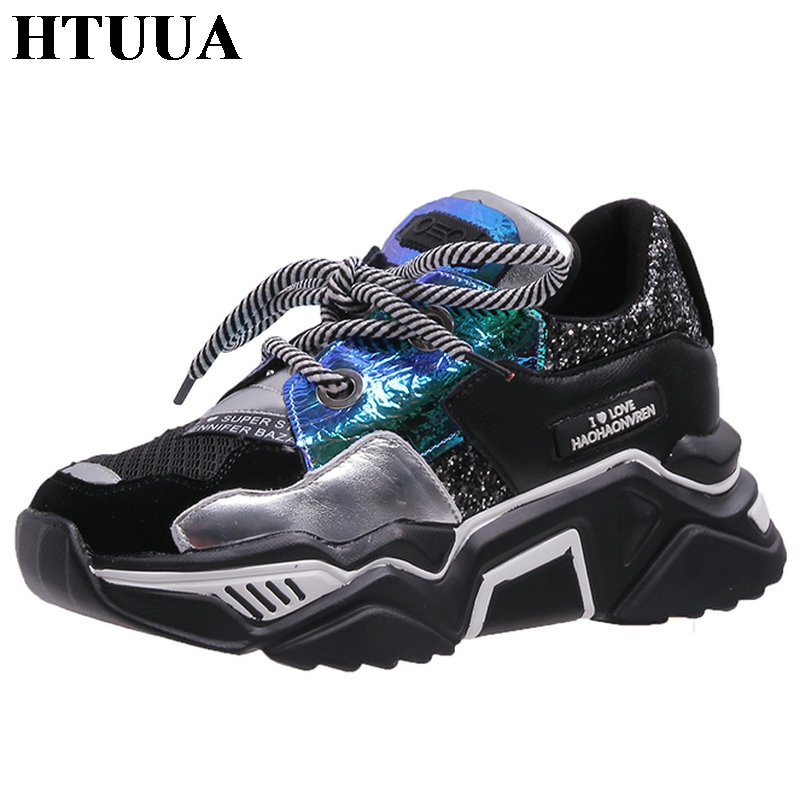 HTUUA Glisten Sequin Lacing Women Sneakers Black White Autumn Breathable Platform Chunky Sneakers Casual Ladies Shoes SX3387