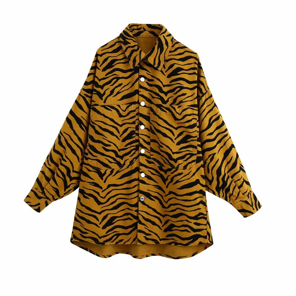 Women Overshirt animal print lapel Collared Long Sleeves Coat 2020 New loose Casual chic Jacket Outerwear Tops manteau femme