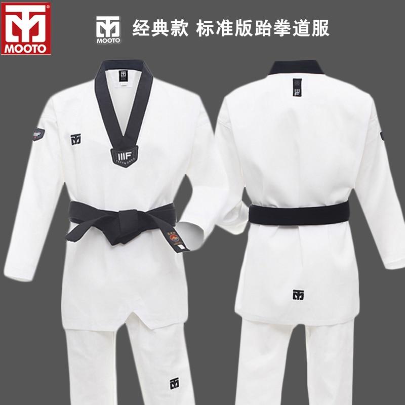 Women Men ITF WTF Taekwondo TKD Martial Arts Suit Uniform V Neck Dobok with Belt