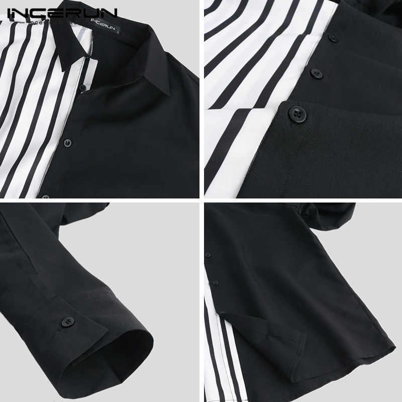 Incerun Casual Mannen Shirt Lange Mouw Gestreepte Patchwork Chic Revers Kraag Knop Persoonlijkheid Merk Shirts Camisa Masculina S-5XL