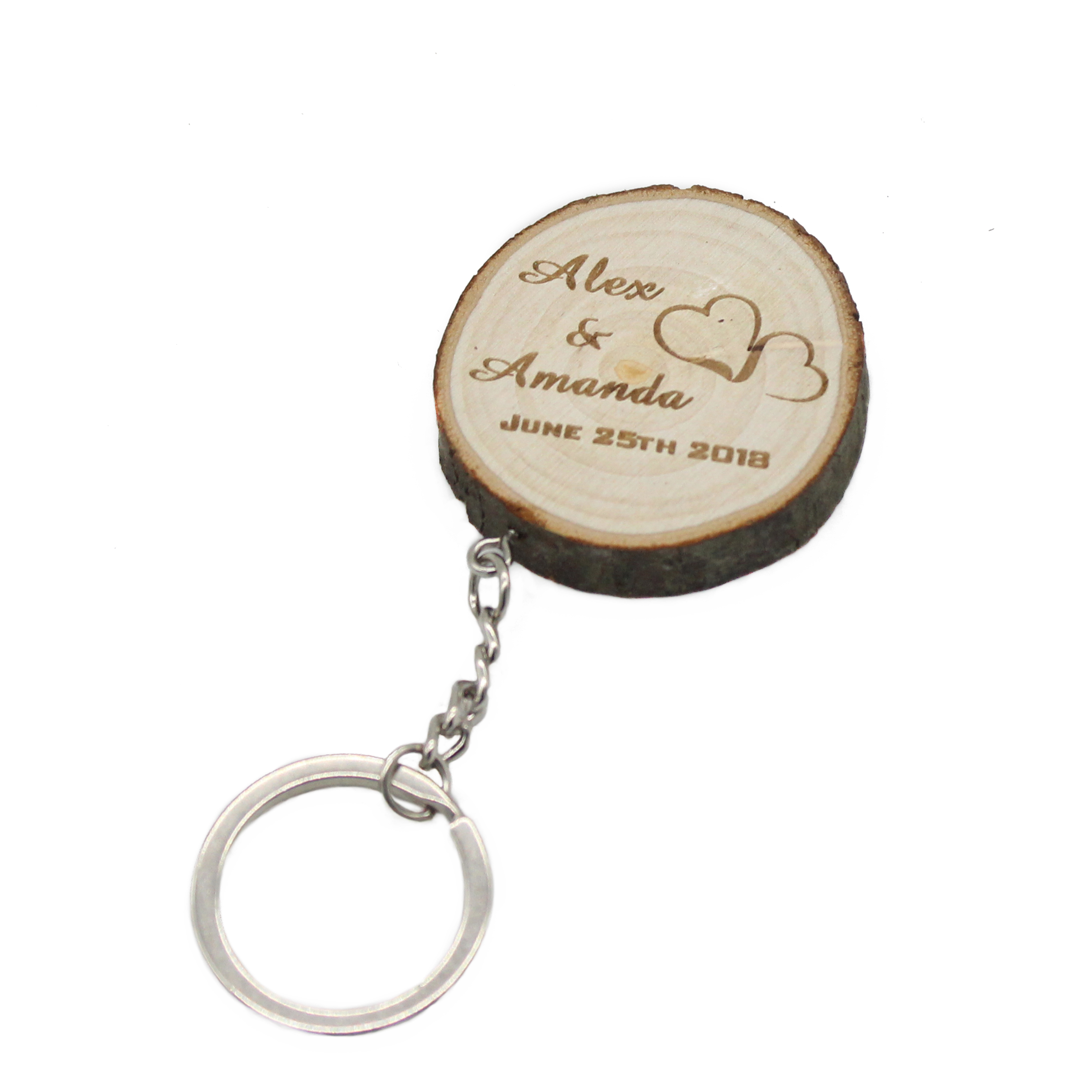 wedding : 50Pcs Personalized Keychains Engraved Slice keyrings Wood Wooden Wedding Decor Party Baby Shower Party Gift Wedding Favor