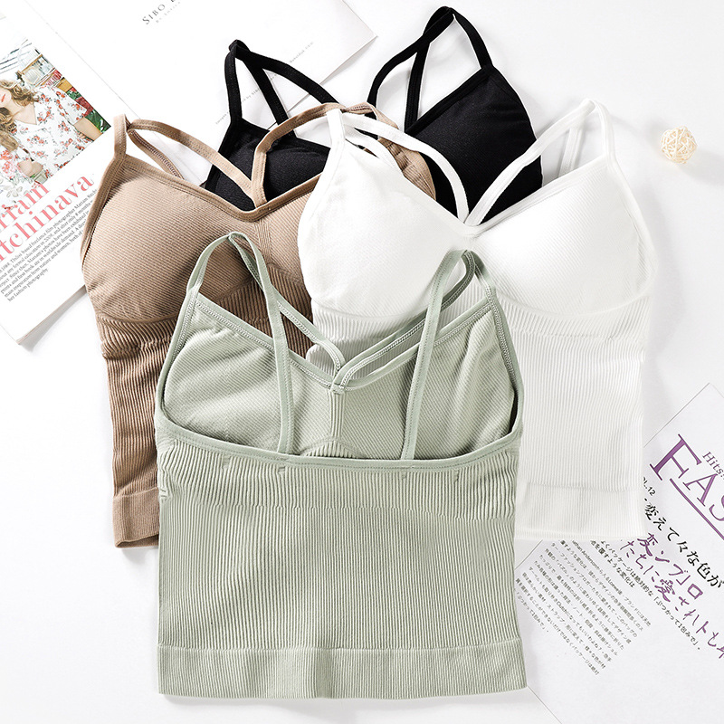 Solid Sports Bra Tops Women Padded Fitness Yoga Running Cropped Top Women SportsWear Gym Solid Tank Tops Athletic Push Up Bras