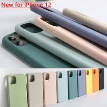 Oficial capa protetora completa do telefone do silicone para o iphone 11 12 mini pro x xr xs max inferior fechado para o iphone 7 8 mais caso