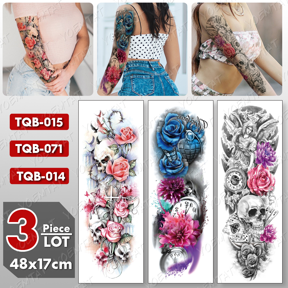 3 Pcs/lot Large Arm Sleeve Tattoo Angel Waterproof Temporary Tatto Sticker Rose Lotus Body Art Full Fake Tatoo Women Men