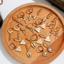 Flatfoosie розы серьги-кольца с крестиком для Для женщин золотое ожерелье в виде морской звезды лист Шарм Хооп Серьги ювелирные изделия Треугольники серьги