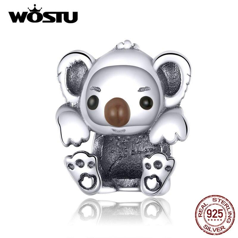 WOSTU S925 Baby Koala Beads Charms Fit Original Bracelet Hot Fashion 100% Real 925 Sterling Silver Pendant Gift CQC1304(China)