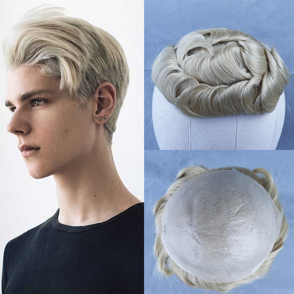 YY Wigs Men's Toupee 613 Blonde Brazilian Remy Human Hair Toupee For Men Hair Replacement System Wigs For Man Thin PU Hairpieces