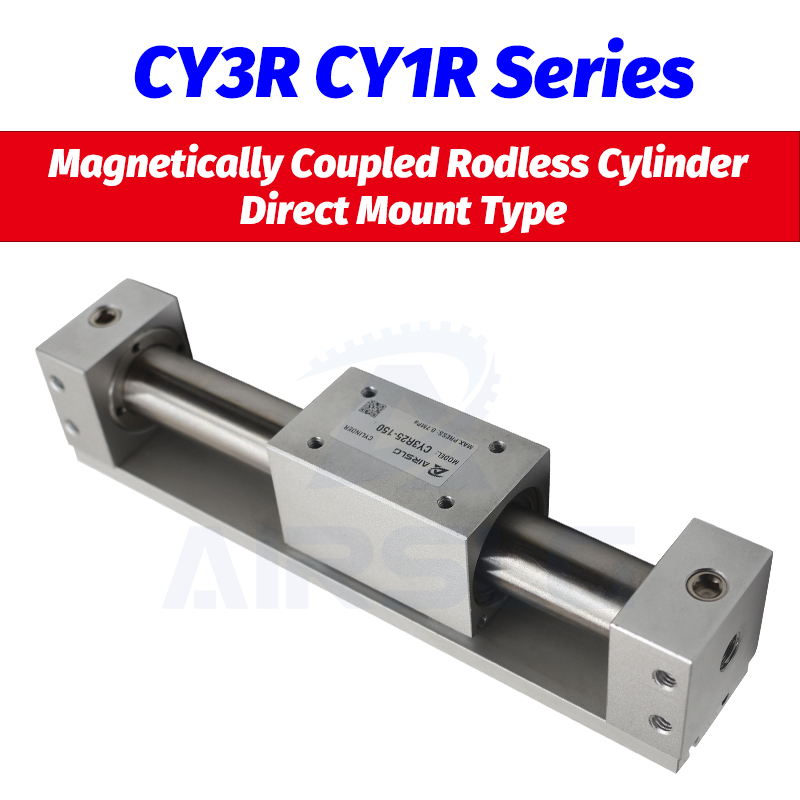 SMC type CY3R6 CY1R10 Magnetically Coupled Rodless Cylinder Direct Mount Type Bore 6 10mm stroke 50-300mm Built-in magnet AIRSLG()