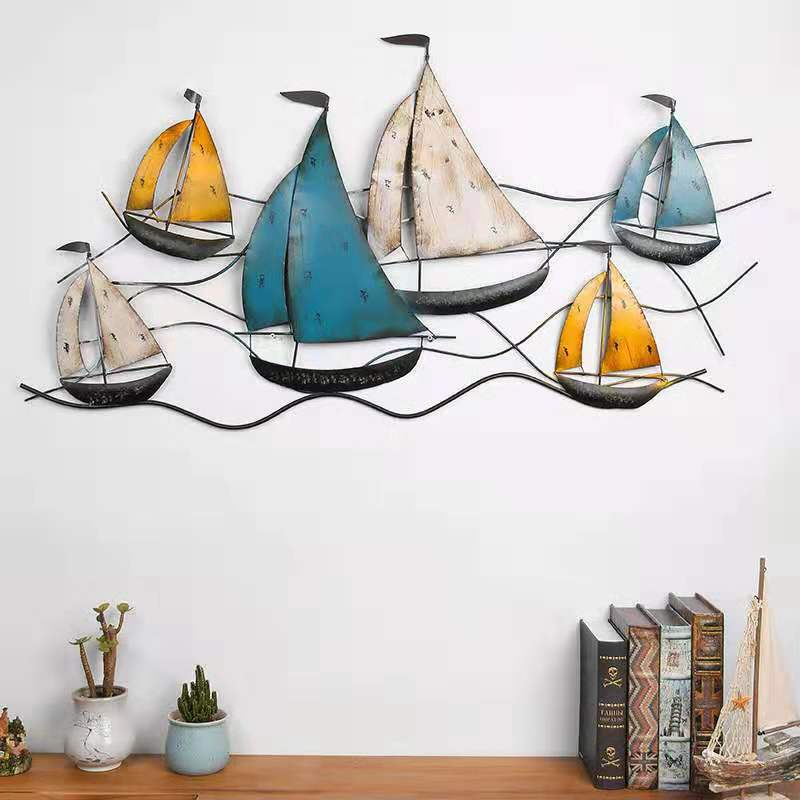Vintage Wrought Iron Sailing Wall Hanging Industrial Wind Bar Cafe Creative Wall Soft Decoration Pendant Home Wall Decoration