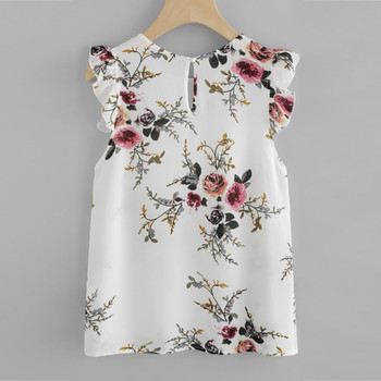 Women Floral Print Shirt Butterfly Sleeve Blouse Tops Vest Tank Chiffon Korean Version Casual Elegant Camisas De Mujer 1