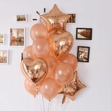 14Pcs Mixed Gold Confetti Balloons Birthday Party Decoration Metallic Balloon Air Ball Ballon Decor star love