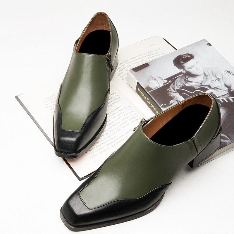 Новое поступление; мужские слипоны с квадратным носком, визуально увеличивающие рост; обувь для банкета; мужские повседневные лоферы из нат... - 5