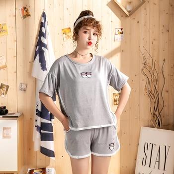 Hot sale Summer Shorts Pajama Sets for Women Short Sleeve Sleepwear Cute Girls Cartoon Pyjama Homewear Pijama Mujer Home Clothes 9