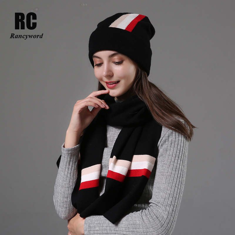 [Rancyword] Women Hats Sets Winter Knitted Hat Scarf Set For Women Casual Hats Beanies Winter 2019 Girls Gift RC2072