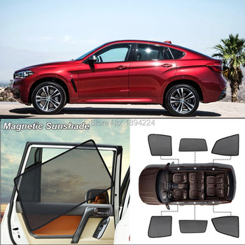 Car Full Side Windows Magnetic Sun Shade UV Protection Ray Blocking Mesh Visor For BMW X6 2015