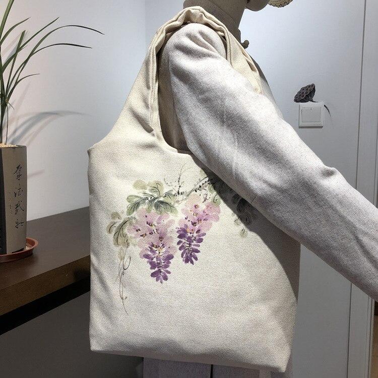 New Hand-painted Cotton And Linen Female Literary Cloth Bag Tea Buddha Zen National Style Shoulder Bag Handbag Bag