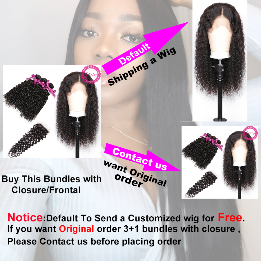 Malaysian Curly Hair With Closure 3 Bundles Remy Human Hair Bundles With Closure Can Customize Into A Curly wig For Free ALIPOP  (3)