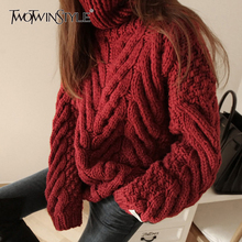 TWOTWINSTYLE Autumn Sweater For Women Long Sleeve Turtleneck Korean Warm Thick Female Sweaters Oversized Fashion New 2020