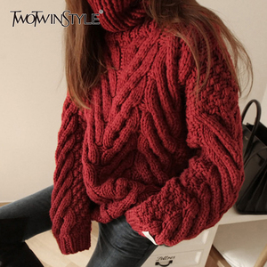 Image 1 - TWOTWINSTYLE Autumn Sweater For Women Long Sleeve Turtleneck Korean Warm Thick Female Sweaters Oversized Fashion New 2020