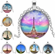 Paris, France Eiffel Tower Round Glass Cabochon Dome Luxury Jewelry Necklace Banquet