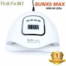 RainSolid 80W Nail Lamp For Nails Gel Polish UV LED Manicure Dryer Semi Permanent Drying Tool SUNX5 MAX