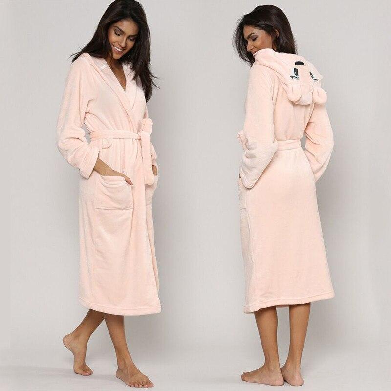 Cute Winter Warm Bathrobes Women Cartoon Bear Rabbit Mid-calf Bath Robe Dressing Plus Size Soft Gown Ladies Bridesmaid Robes