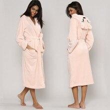 Cute Winter Warm Bathrobes Women Cartoon Bear Rabbit Mid calf Bath Robe Dressing Plus Size Soft Gown Ladies Bridesmaid Robes