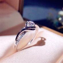 Anel de noivado clássico aaa branco zircão cúbico feminino super flash strass anéis de banda de casamento jóias esterlina