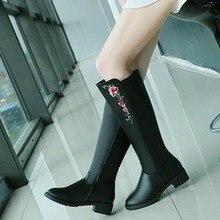 Прямая поставка женский обувь высокие сапоги однотонные сапоги martin до колена с вышивкой пикантные Короткие Плюшевые рыцарские сапоги с круглым носком GTT001