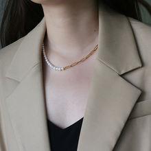 Женское Ожерелье чокер из титана с натуральным жемчугом ювелирные