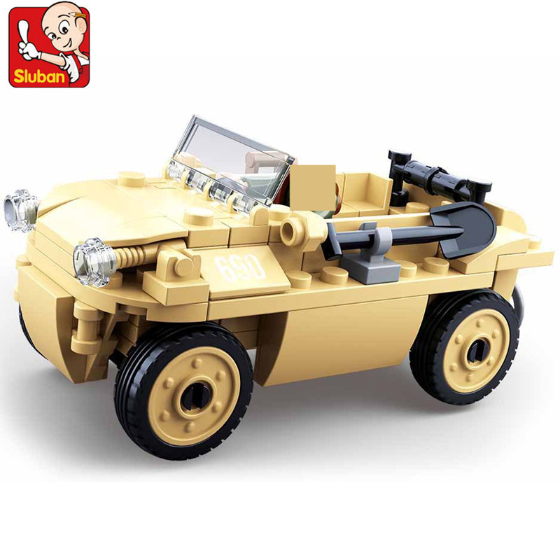 103Pcs Military WW2 Amphibious Jeep Model German Army Figures Troops Building Blocks Sets Juguetes Playmobil Kids Toys
