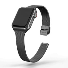 Stainless Steel Metal Watch Band for apple watch 44mm 40mm 38mm 42mm Series 6 5 4 SE Slim Strap for iWatch iWatch 3 2 1 cheap ARMED CN(Origin) 19cm Watchbands Milanese New without tags for iWatch Series 6 5 4 3 2 1 SE Metal Buckle
