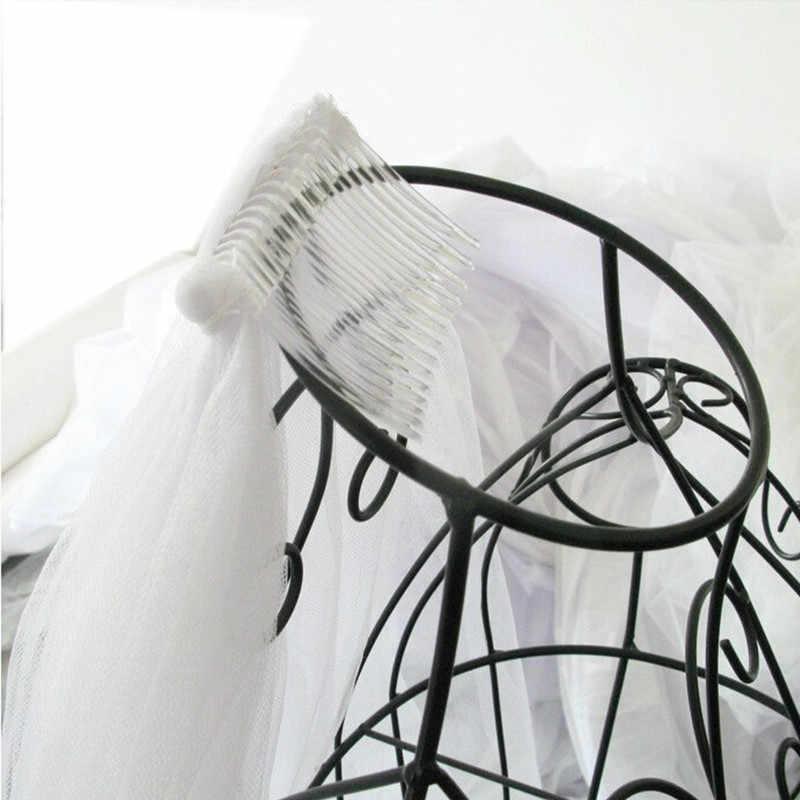 2019 אלגנטי קצר אישה צעיפי כלה 2 שכבות 75 CM עם מסרק שנהב צעיף כלה לחתוך קצה טול חתונה רעלה