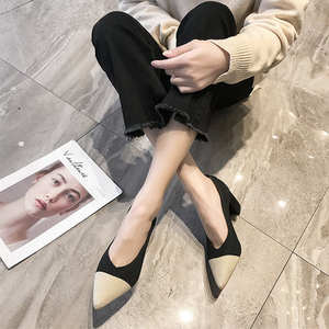 Single-Shoes High-Heels Matching Pointed Color New Mouth Small Thick Spring Shallow