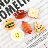4 Uds. Para hacer hamburguesas de abalorios de Slime, Pizza, pan, accesorios para hacer cuentas de Baba, con bolsa con cordón para manualidades, Scrapbooki