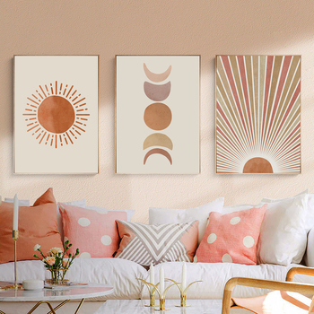Abstract Landscape Sun and Moon Scene Boho Canvas Prints Painting Wall Art Pictures Posters for Living Room Home Decor No Frame modern abstract oil painting posters and prints wall art canvas painting colorful rhythm pictures for living room decor no frame