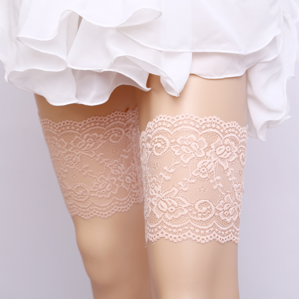 Sexy Anti Slip Thigh Bands Women Solid Knitt Lnvisible Phone Pocket Lace Garters Ladies Anti Friction Leg Warmers Thighs Ring