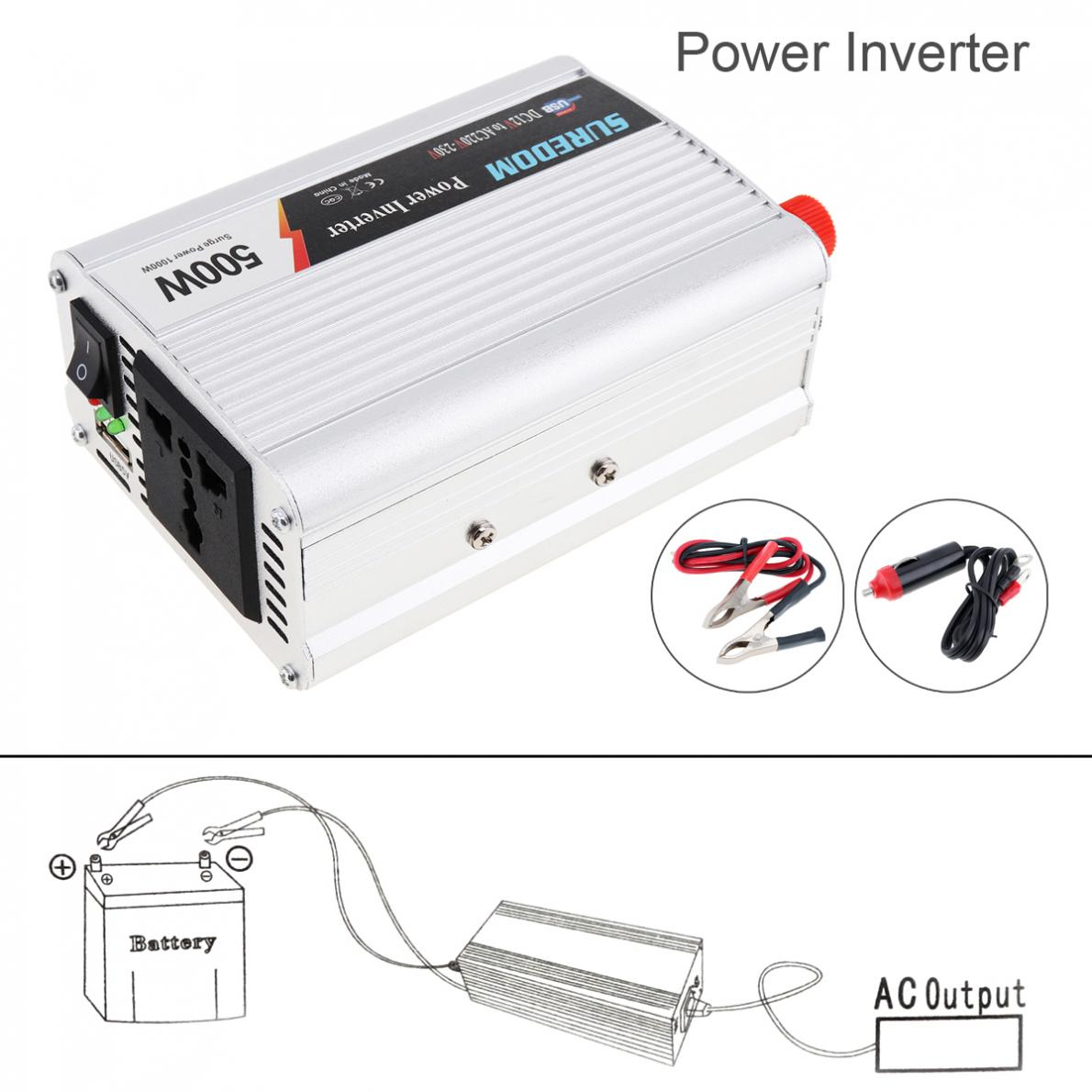 500W DC <font><b>12V</b></font> 24V to AC 220V 110V Vehicle Car Power <font><b>Inverter</b></font> USB Adapter Portable Voltage Transformer Charger Surge Power <font><b>1000W</b></font> image