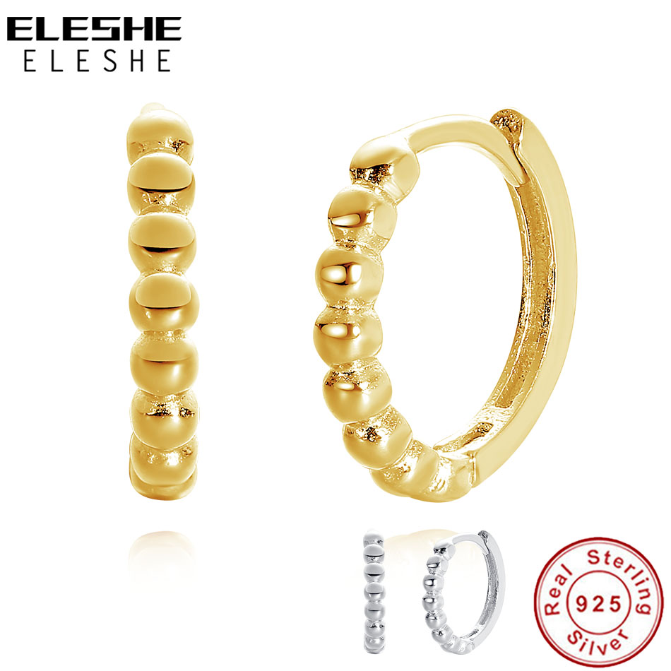 ELESHE 925 Sterling Silver Beaded Hoop Earrings with 14K Gold Plated Stackable Earrings for Women Engagement Christmas Jewelry