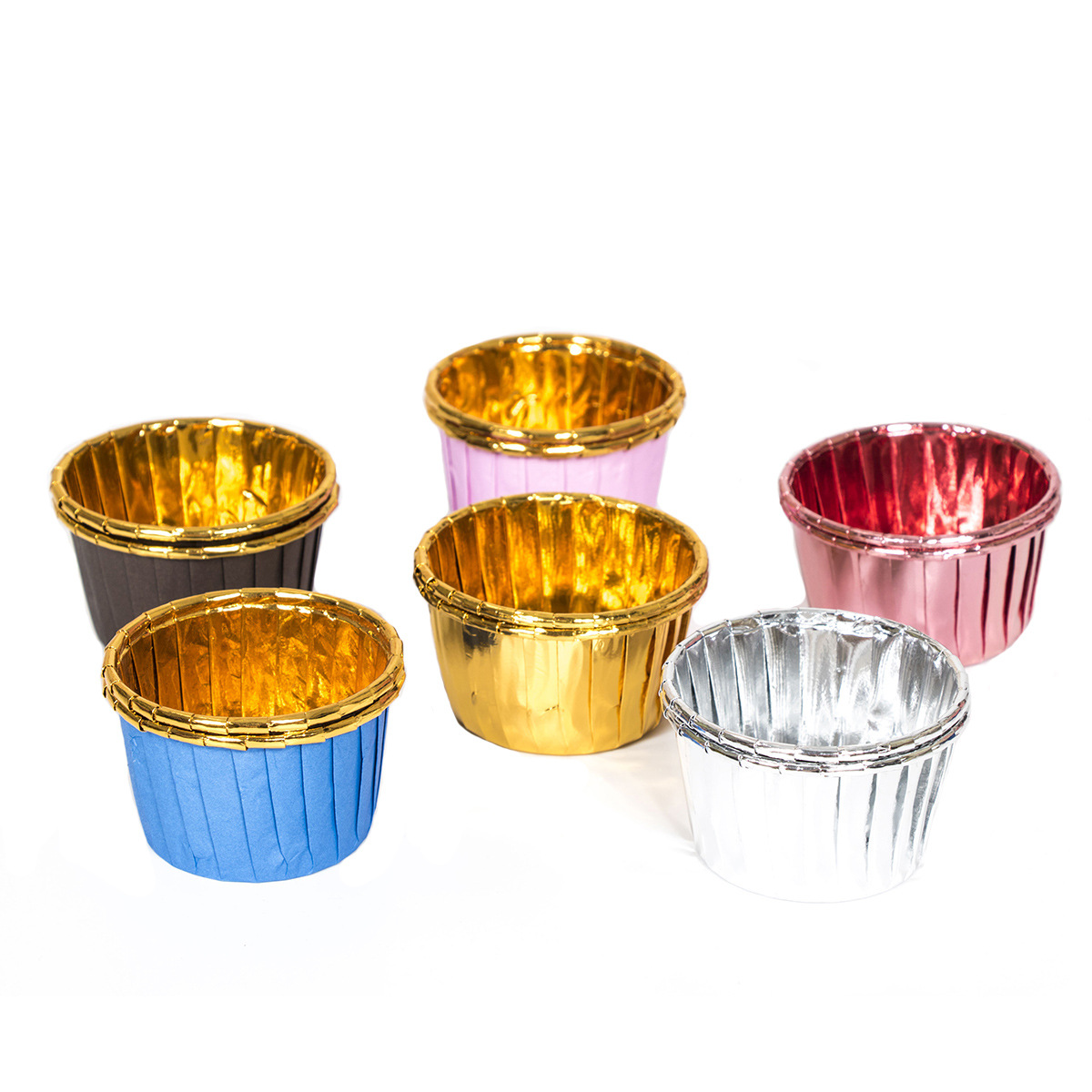 Manufacturers Currently Available 50 PCs Double-Sided Aluminum Muffin Cup Gold High-temperature Resistant Volume Cup Baking Moul