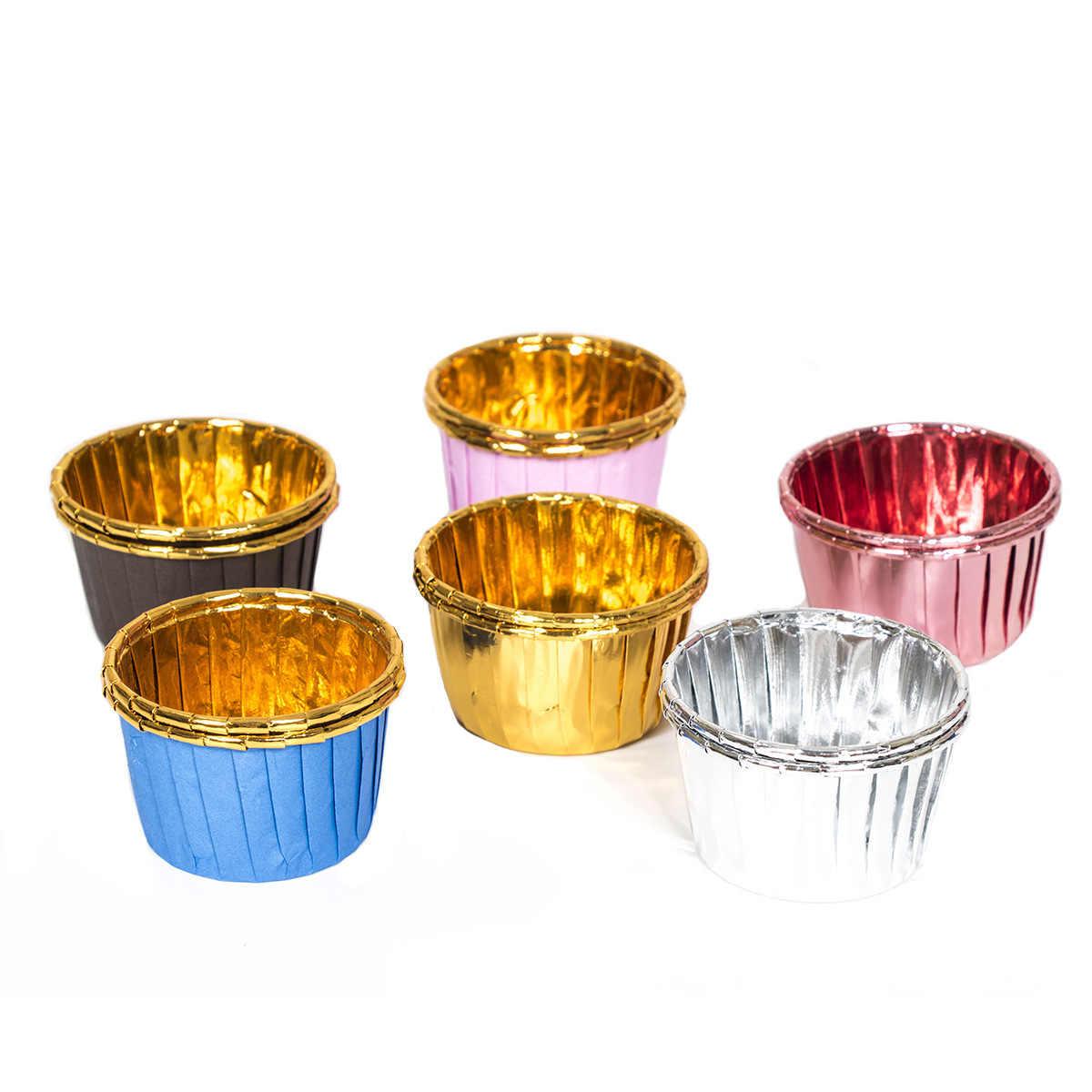 Fabrikanten Momenteel Beschikbaar 50 Stuks Dubbelzijdig Aluminium Muffin Cup Goud Hoge temperaturen Volume Cup Bakken Moul