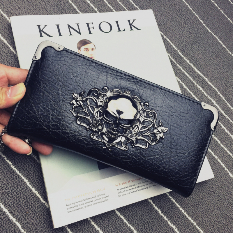 Women's Wallet Skull Wallet Ladies Long PU Leather Handbag Zipper Wallet Skeleton Wallet Clutch Card Holder Carteira Feminina