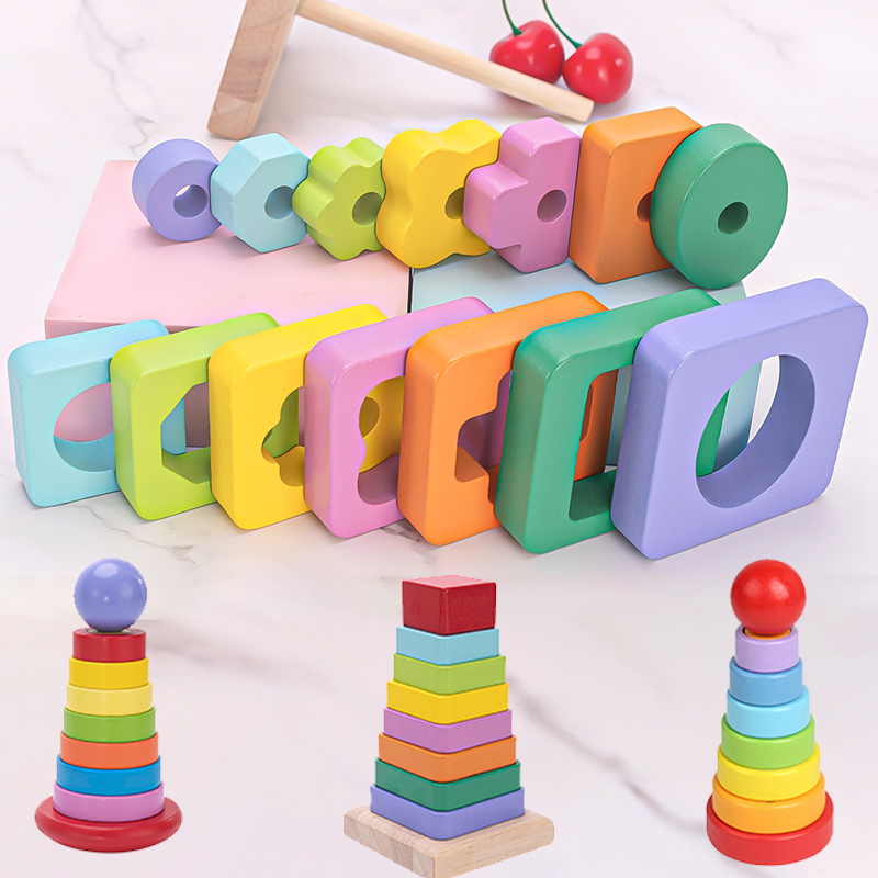 Wooden Puzzle Game Kids Toys Rainbow tower pyramid Nesting Stacking Baby Shape Games Toy Children DIY Birthday Present For Baby