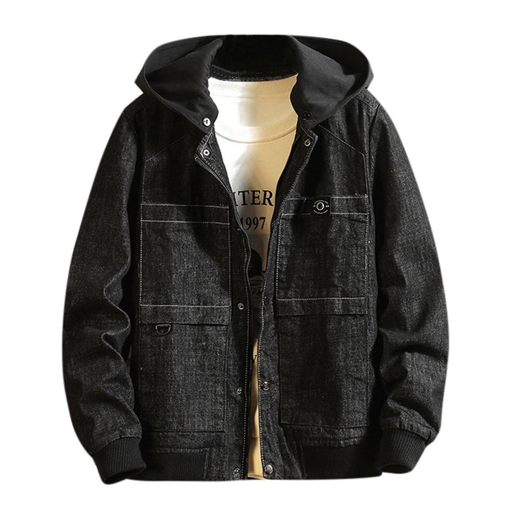 Men Casual Autumn&Winter Jacket Hoodies Long Sleeve Sweatshirt Outwear Coat Cowboy Men's Jean Jacket Chaqueta Hombre 9.2