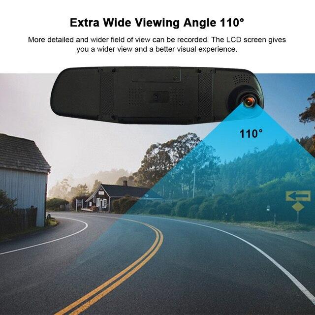 Wideorejestrator samochodowy z noktowizorem lusterko wsteczne z kamerą cyfrowy rejestrator wideo kamera samochodowa kamera na deskę rozdzielczą FHD 1080P z dwoma len rejestrator
