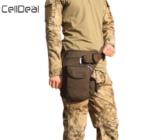 CellDeal High Quality Multifunction Cotton Canvas Waist Bag Men Waterproof Belt Fanny Pack Waist Pocket Casual Leg Bag Wallet