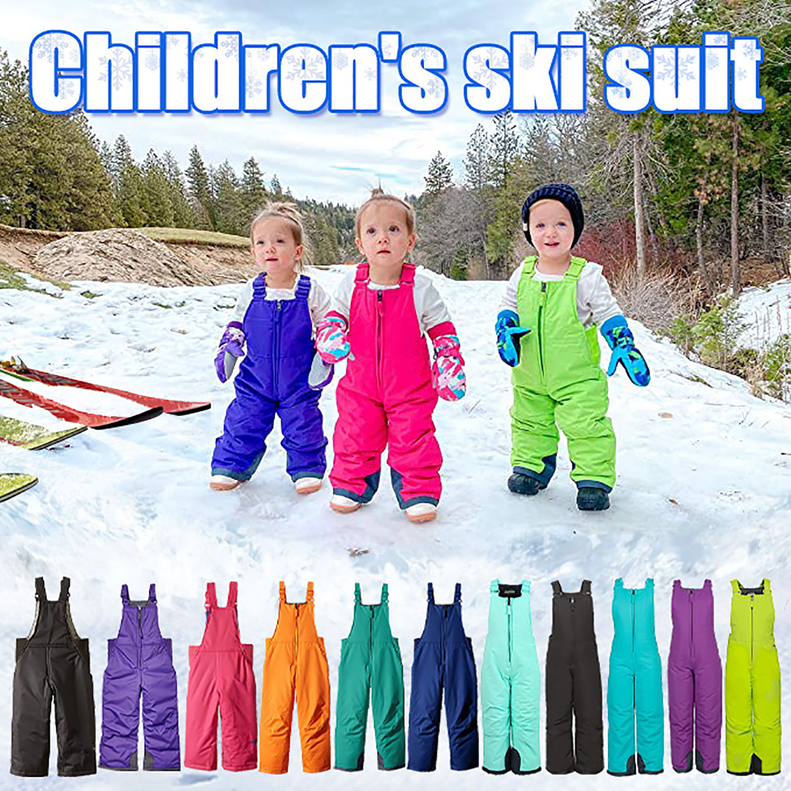 Infant/child Snow Skiing Pants Outdoor Ski Wear Toddler Chest High Snow Bib Overalls Waterproof Warm Snowboarding Trousers