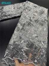 Gri afrika dantel kumaş 2020 yüksek kaliteli sequins dantel kumaş nakış tül fransız afrika dantel parti elbise 3417b