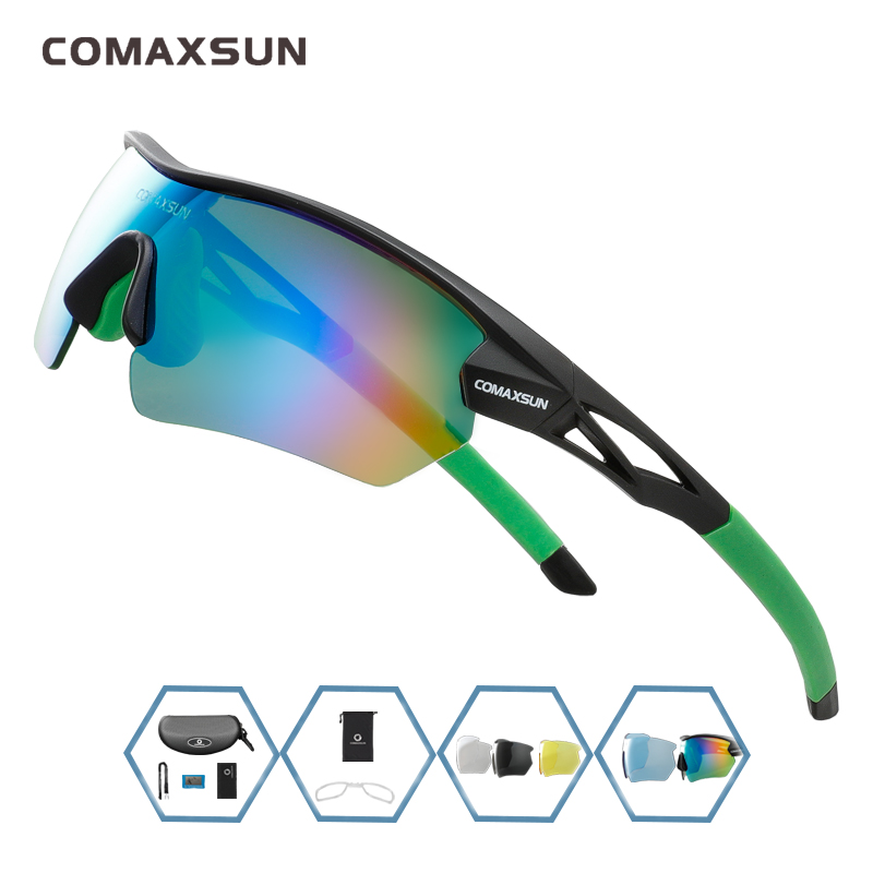 COMAXSUN Professional Polarized Cycling Glasses Bike Goggles Outdoor Sports Bicycle Sunglasses UV 400 With 5 Lens TR90 2 Style 14