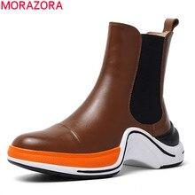 MORAZORA Botines de piel auténtica para mujer, botas femeninas de punta redonda, zapatos casuales cómodos, para otoño e invierno, 2020